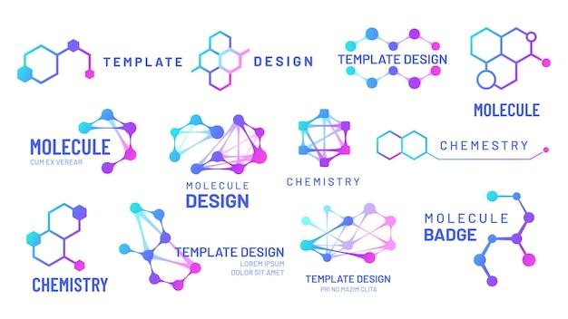 Conjunto de logotipos de moléculas