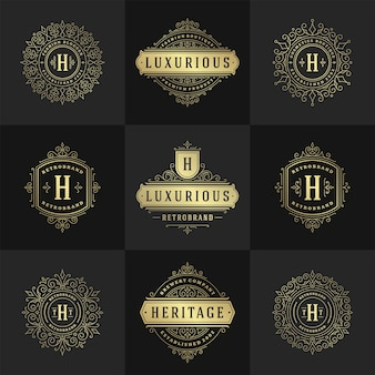 Conjunto de logotipos y monogramas vintage, elegantes florituras, adornos elegantes, diseño de plantilla de vector de estilo victoriano
