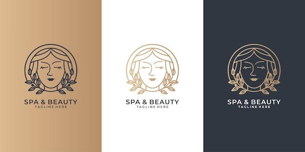 Conjunto de logotipos de mujeres spa y belleza