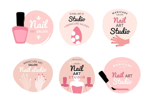 Conjunto de logotipos de nails art studio