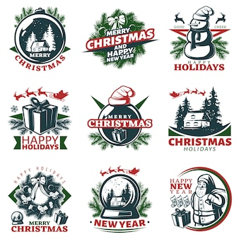 Conjunto de logotipos de navidad coloridos