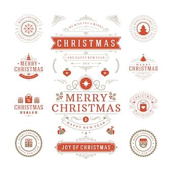 Conjunto de logotipos navideños, emblema, divisa. decoración de adornos vintage.