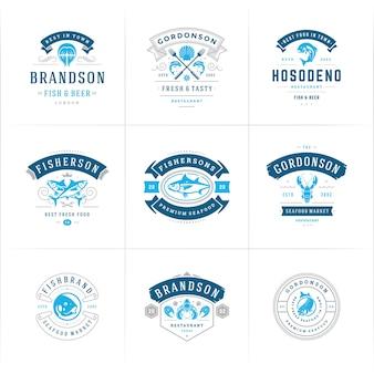 Conjunto de logotipos o carteles de mariscos