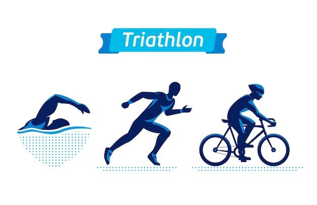 Conjunto de logotipos o insignias de triatlón