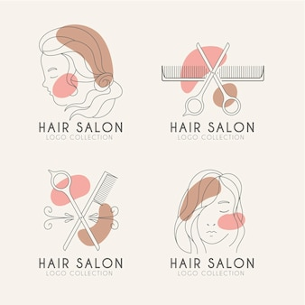 Conjunto de logotipos de peluquería dibujados a mano plana