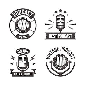 Conjunto de logotipos de podcasts vintage