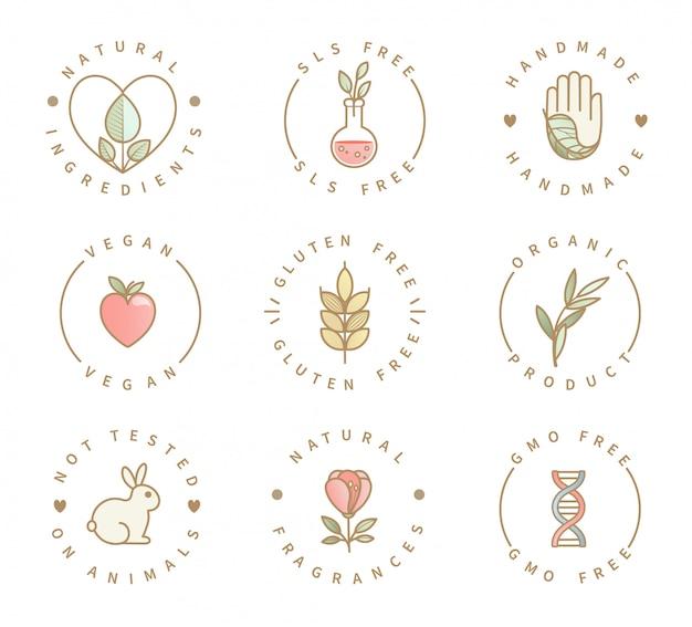 Conjunto de logotipos de productos ecológicos