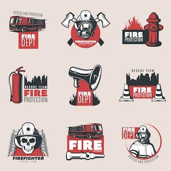 Conjunto de logotipos de protección contra incendios vintage