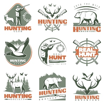 Conjunto de logotipos de real hunt