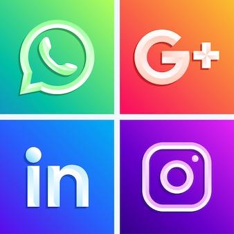 Conjunto de logotipos de redes sociales
