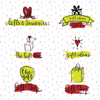 Conjunto de logotipos de regalos