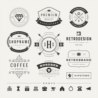 Conjunto de logotipos retro vintage vector elementos de diseño