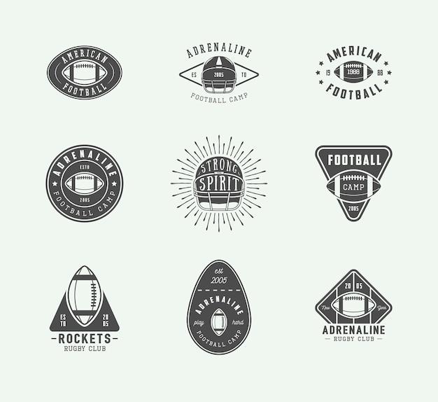 Conjunto de logotipos de rugby y fútbol americano