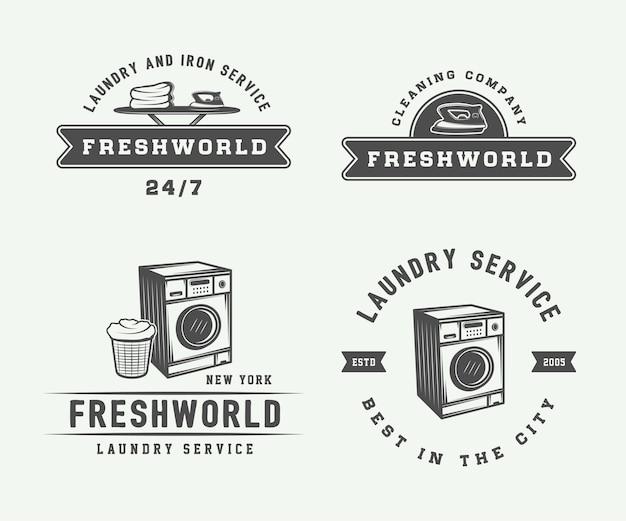 Conjunto de logotipos de servicio de limpieza o plancha vintage