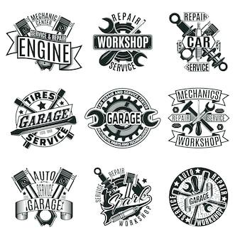 Conjunto de logotipos de servicio de reparación de automóviles monocromo