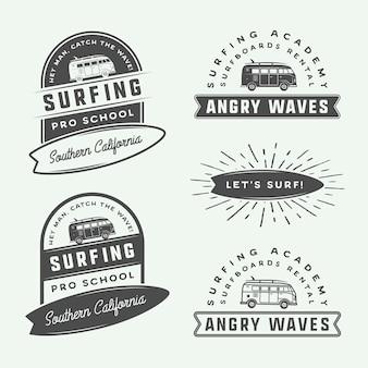Conjunto de logotipos de surf