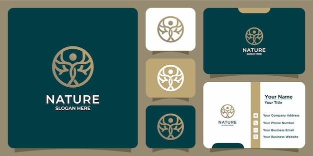 Conjunto de logotipos y tarjetas de visita de plantillas de árboles modernos y femeninos dibujados a mano