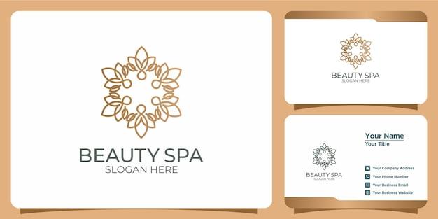 Conjunto de logotipos y tarjetas de visita de plantillas de belleza modernas y femeninas dibujadas a mano