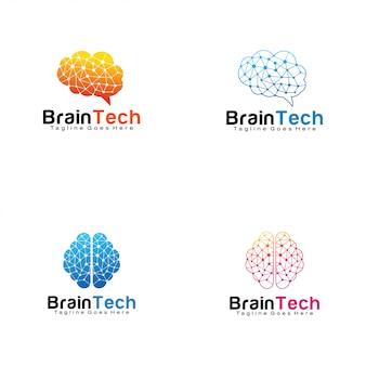 Conjunto de logotipos de tecnología cerebral