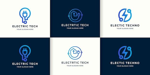 Conjunto de logotipos de tecnología eléctrica con circuito de línea.