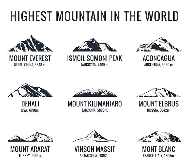 Conjunto de logotipos turísticos de montaña.