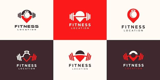 Conjunto de logotipos de ubicación de fitness.