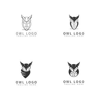 Conjunto de logotipos únicos de búho