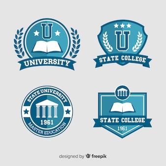 Conjunto de logotipos de universidad en estilo flat
