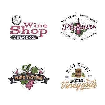 Conjunto de logotipos de vino