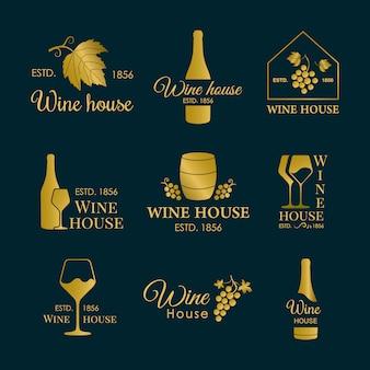 Conjunto de logotipos de vinos.