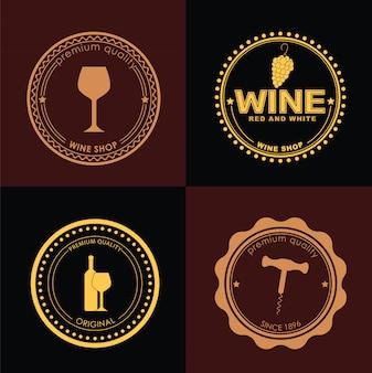 Conjunto de logotipos para vinotecas.