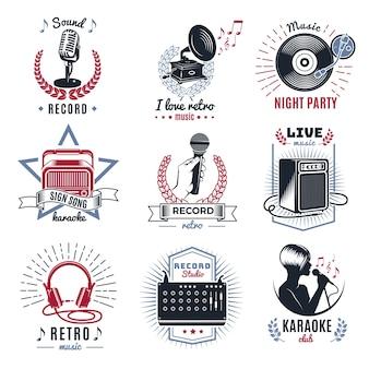 Conjunto de logotipos vintage de karaoke