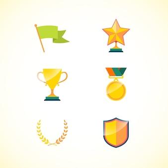 Conjunto de logro insignias de motivación e incentivos aislados ilustración vectorial
