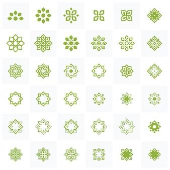 Conjunto de lotus wellness logo design template element