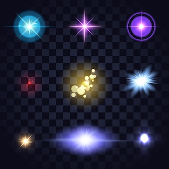 Conjunto de luces de colores brillantes, tarifas de lentes, explosión de estrellas en la oscuridad