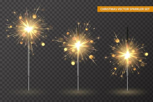 Conjunto de luces de navidad de bengala, diferentes etapas de quema de bengalas