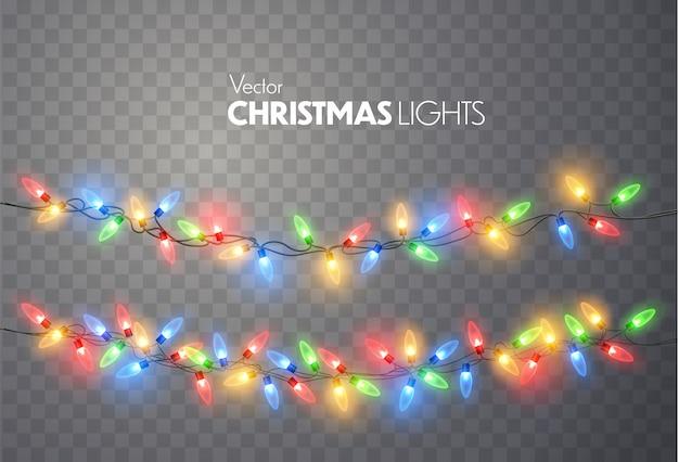 Conjunto de luces de navidad. vector año nuevo decorar guirnalda con bombillas de luz brillante.