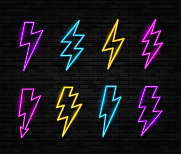 Conjunto de luces de neón que brillan intensamente ightning bolt icon thunder and electric sign Vector Premium
