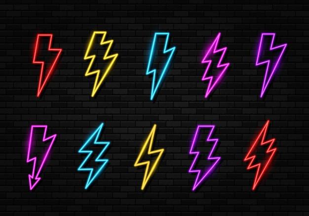 Conjunto de luces de neón que brillan intensamente ightning bolt icon thunder and electric sign