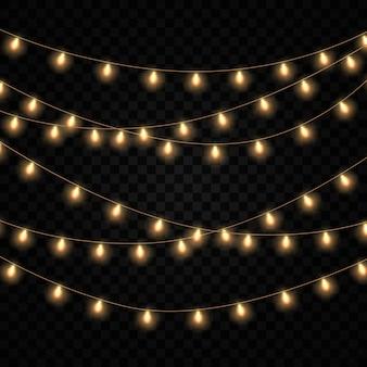 Conjunto de luces de oro brillante guirnalda aislado.