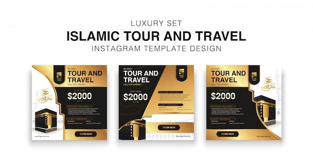 Conjunto de lujo de diseño de plantilla de redes sociales de viajes y viajes islámicos. diseño de promoción hajj y umrah en color negro y dorado.