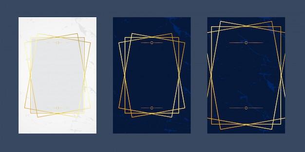 Conjunto de lujo de tarjetas de invitación línea de mármol azul blanco