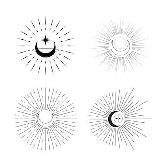 Conjunto de luna celestial con logotipo de rayos de sol diseño de vector plano de tatuaje mínimo