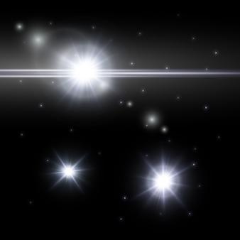 Conjunto de luz de las estrellas aislado sobre fondo oscuro,