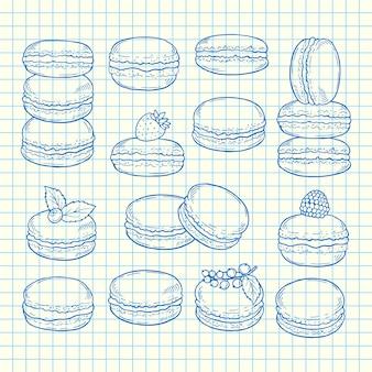 Conjunto de macarrones dibujados a mano en la ilustración de hoja de celda de página