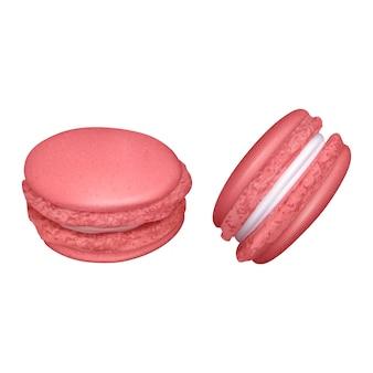 Conjunto de macarrones sobre fondo blanco con grupos de dos tortas de almendras desde diferentes ángulos ilustración