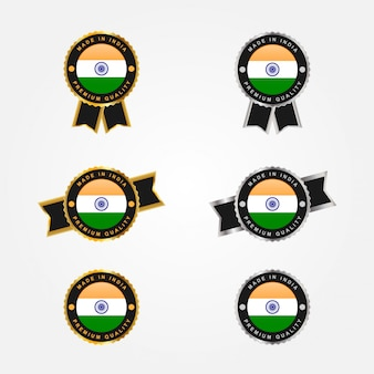 Conjunto made in india y bandera con diseño de plantilla de ilustración de etiquetas de emblema distintivo