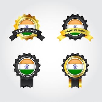 Conjunto made in india con diseño de plantilla de ilustración de etiquetas de emblema distintivo