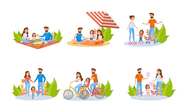 Conjunto de madre e hijo. colección de actividad familiar.