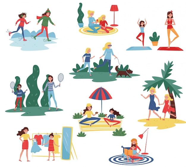 Conjunto de madres felices con hijas en diferentes acciones. las mamás pasan tiempo con sus hijos en casa y al aire libre.